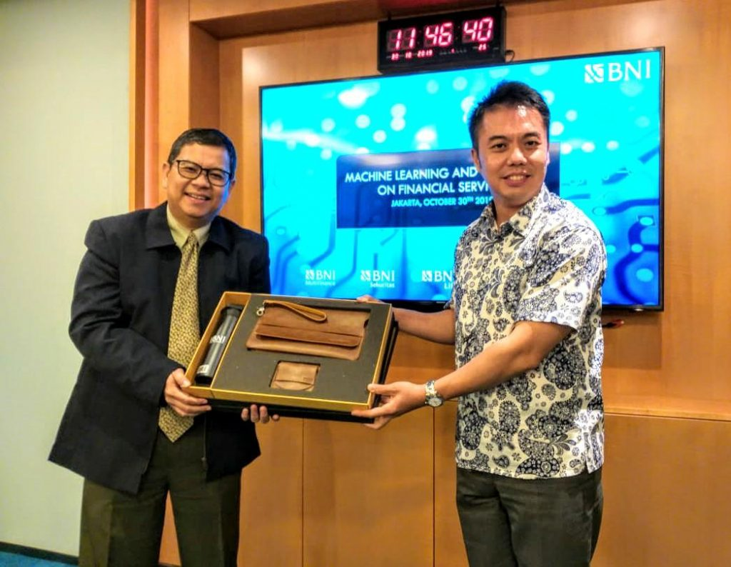 Dr. Andrew Ang, CTO of AIDA Technologies (right), was invited by Indonesia BNI Group - AiDA Technologies